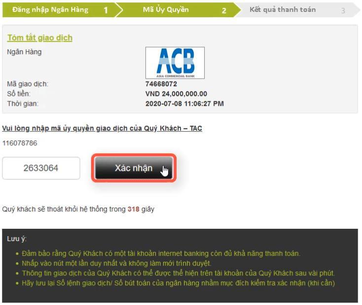 Nhập mã xác nhận OTP của ngân hàng ACB