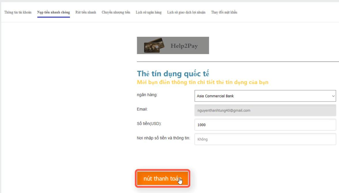 Nạp tiền vào tài khoản GGtrade bằng internet banking