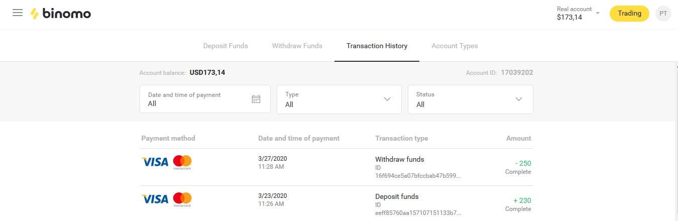 Bukti deposit dan penarikan dana di Binomo