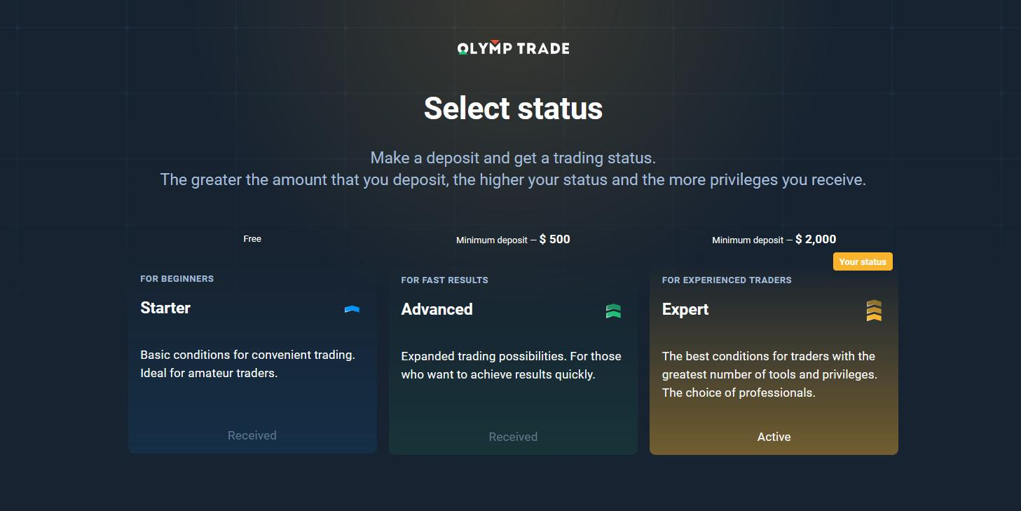 Types of accounts in Olymp Trade