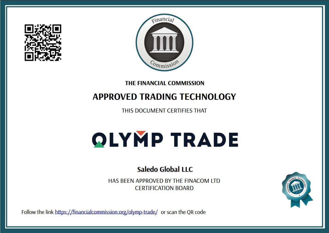 The organization licenses the Olymp Trade