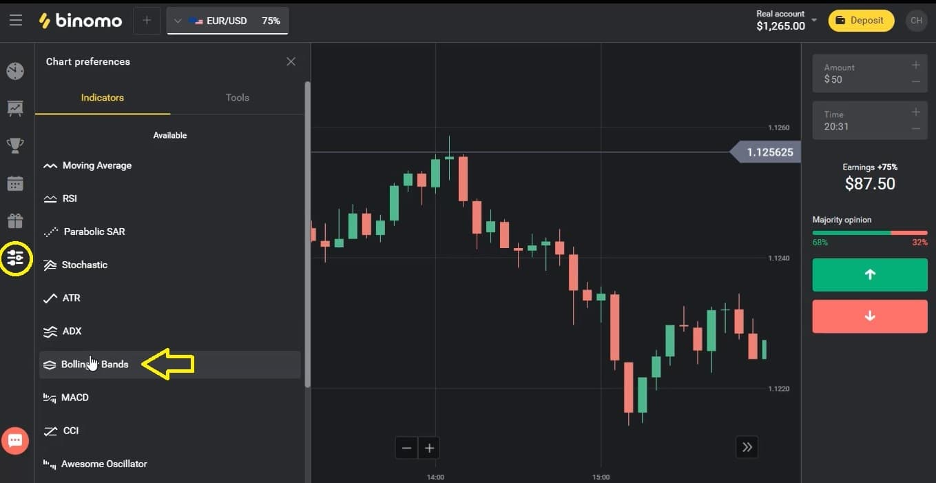 How to set up Bollinger Bands indicator in Binomo