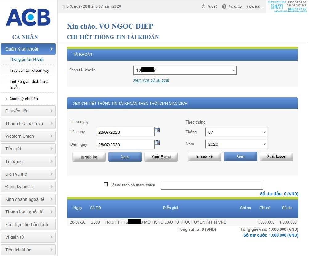 Gửi tiền tiết kiệm online tài khoản ACB