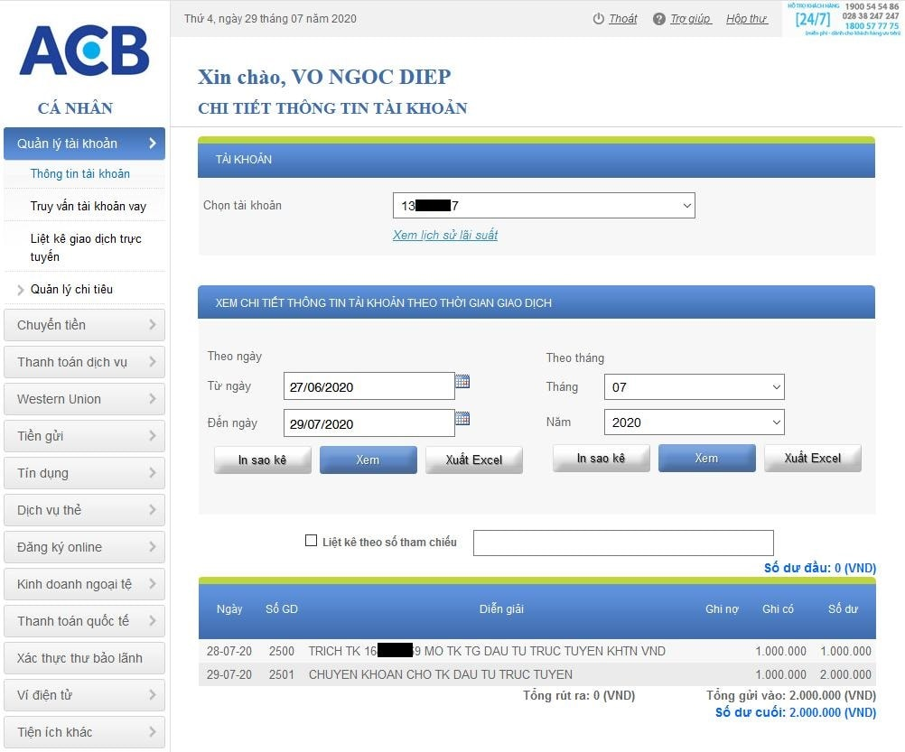 Gửi tiền tiết kiệm vào tài khoản ACB