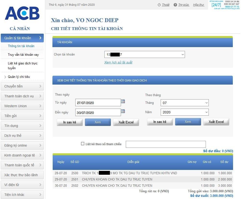 Gửi tiết kiệm tài khoản ACB