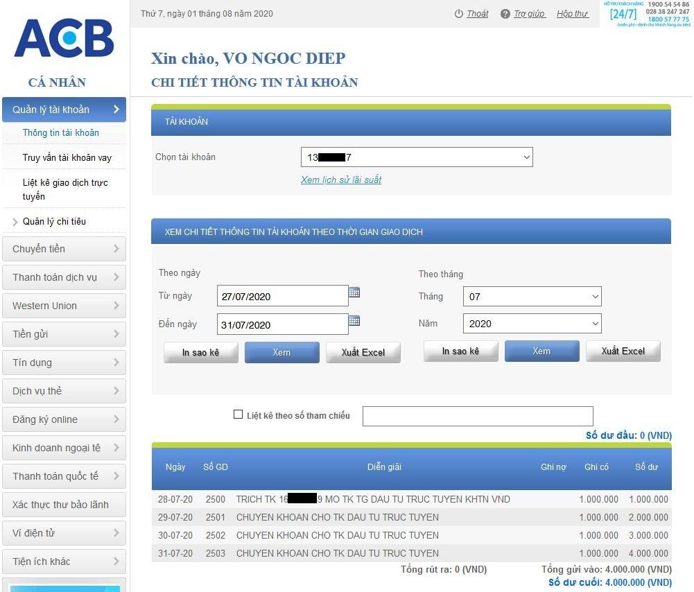 Gửi tiền tiết kiệm ACB