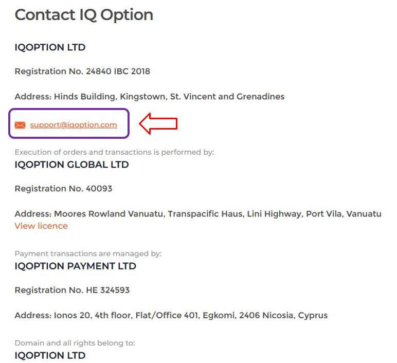 Menghubungi dukungan IQ Option melalui email