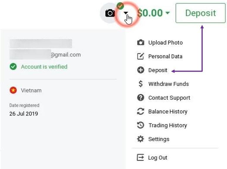 Cara deposit uang di IQ Option