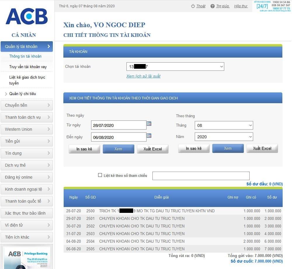 Nạp vào tài khoản tiết kiệm ACB