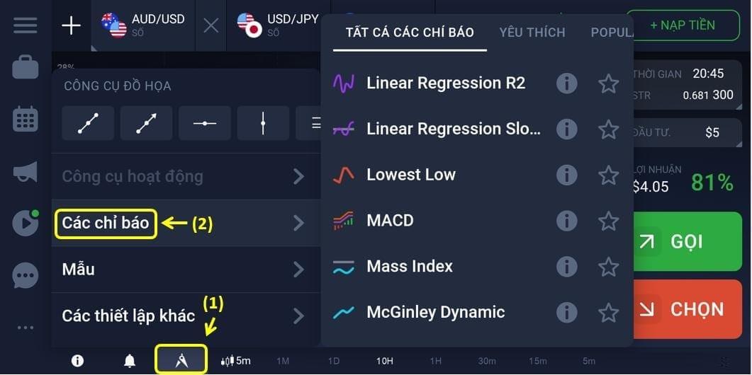 Mengatur indikator analisis teknis di IQ Option pada ponsel Anda