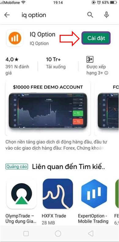 Instal aplikasi IQ Option