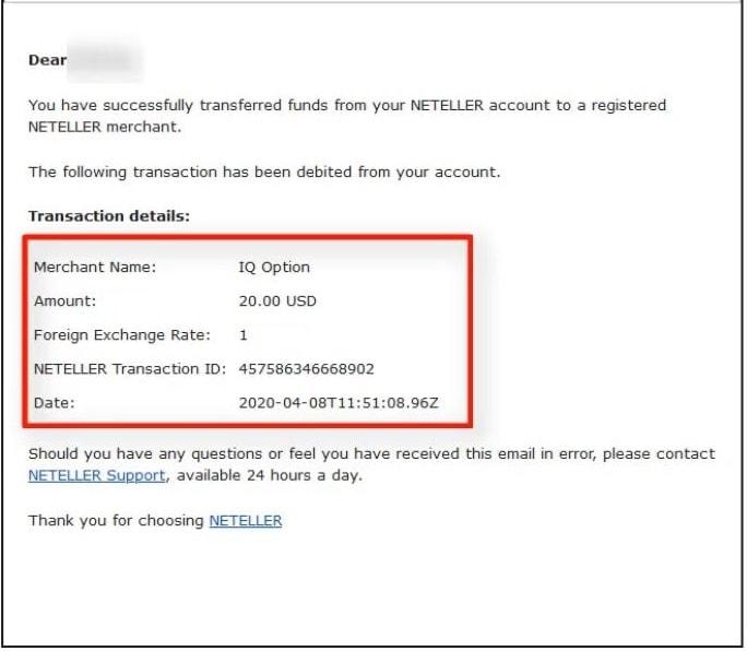 Email notifikasi dari Neteller