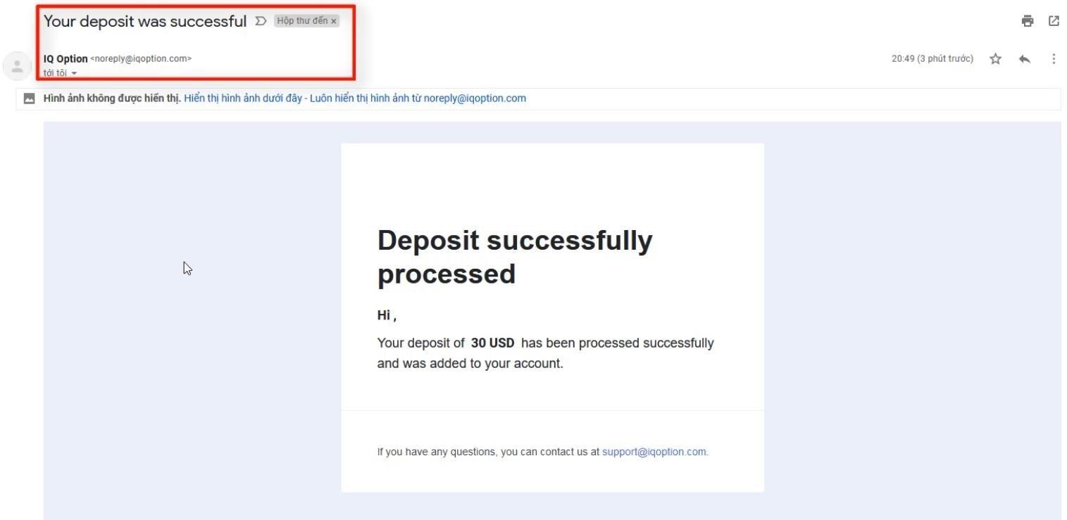 IQ Option mengirimkan email yang menginformasikan bahwa deposit telah berhasil