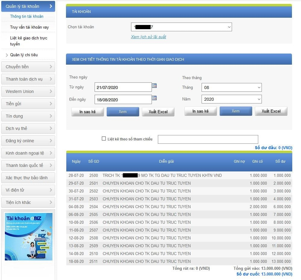 Gửi tiết kiệm online tại ACB