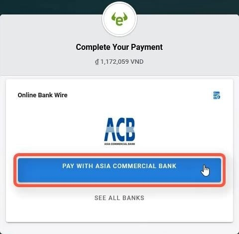 Confirm the bank used for payment