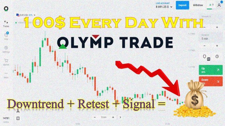 Cách Kiếm Tiền 100$ Mỗi Ngày Tại Olymp Trade Với Downtrend