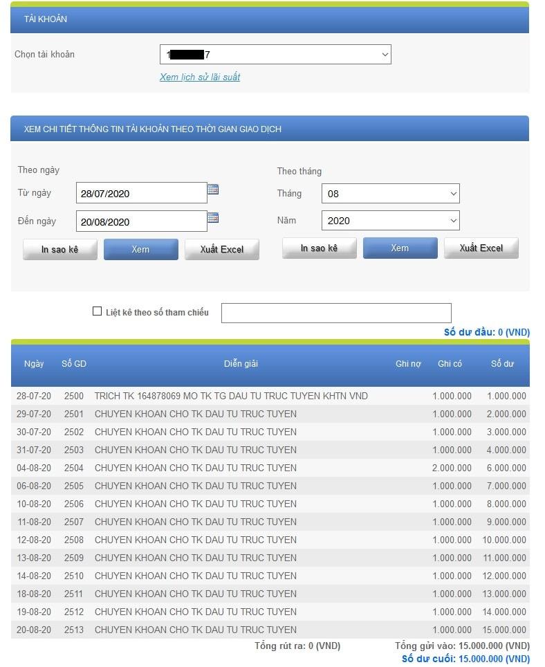 Gửi tiền tiết kiệm tài khoản ACB