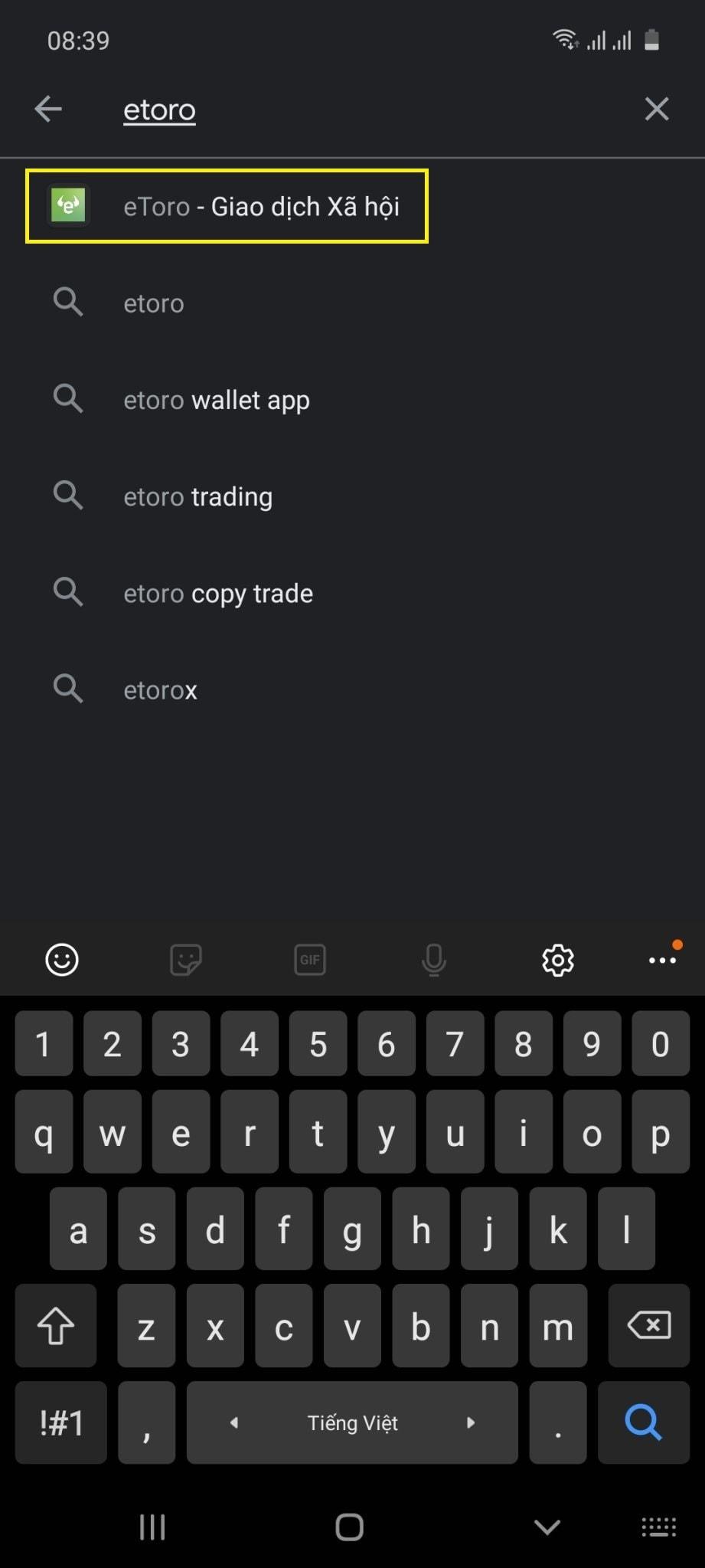 "Search for ""Etoro"" app"