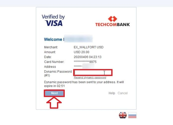 Enter the OTP to confirm payment