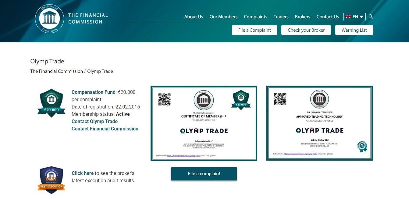 Chứng nhận thành viên của Ủy ban tài chính FinaCom dành cho sàn Olymp Trade