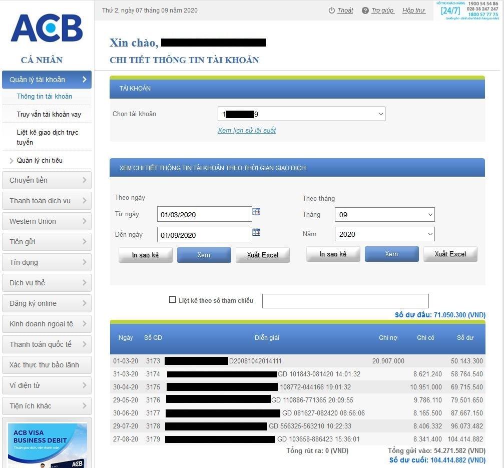 Rút tiền từ Olymp Trade về ACB