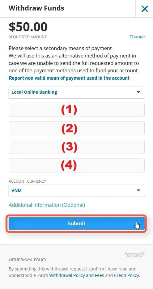 اطلاعات حساب بانکی را که می خواهید در آن برداشت کنید پر کنید