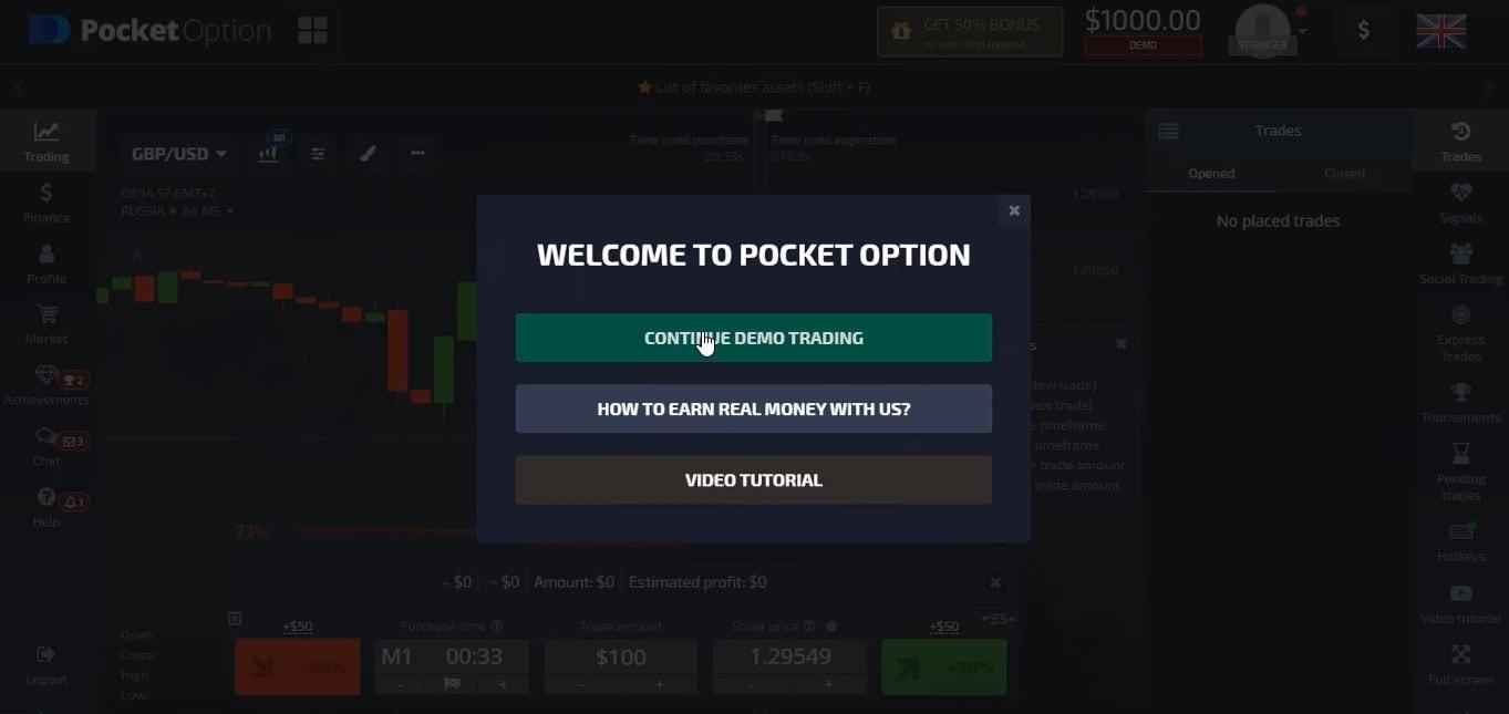 Hướng dẫn đăng ký mở tài khoản tại Pocket Option