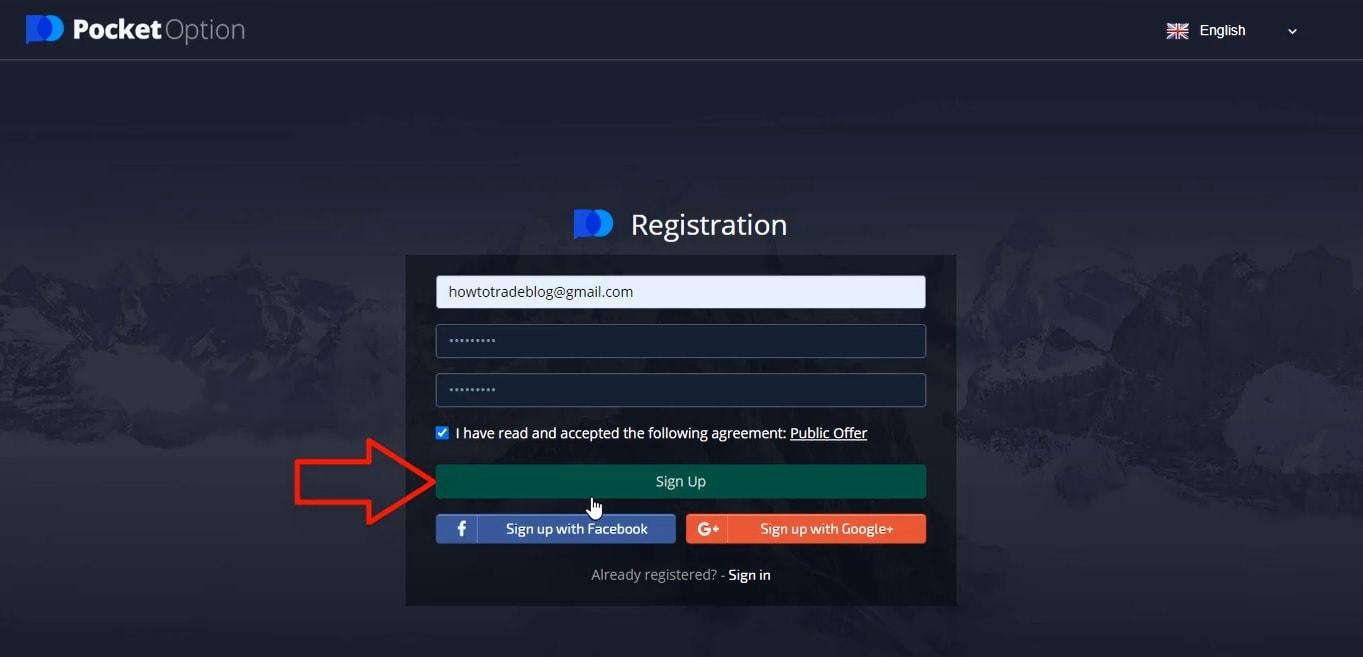 Bạn chỉ cần 1 email và 1 mật khẩu cho tài khoản Pocket Option