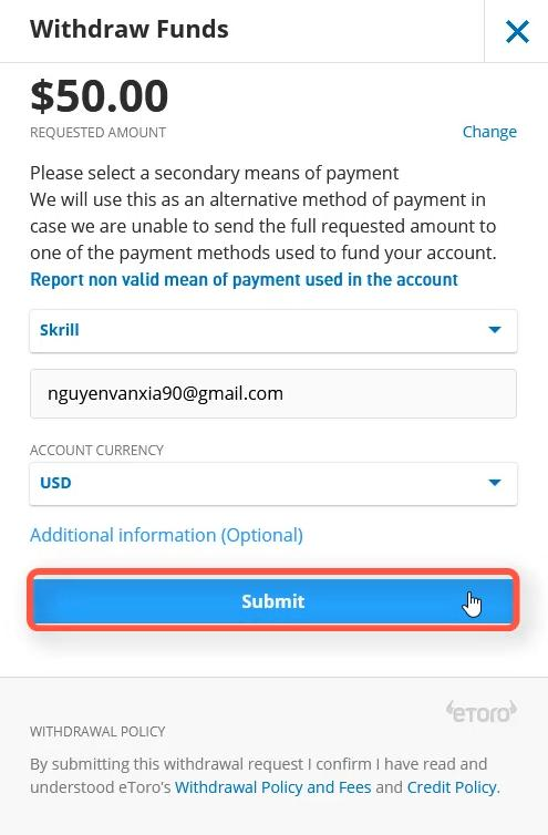 Enter the address of the Skrill e-wallet which you want to withdraw to