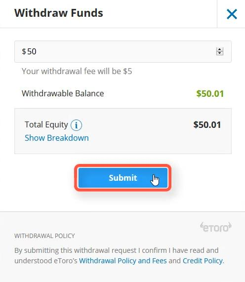 Enter the amount you want to withdraw from your Etoro account