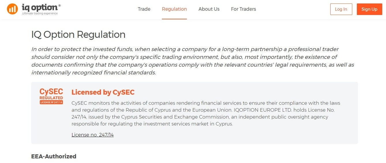 IQ Option is licensed by Cysec