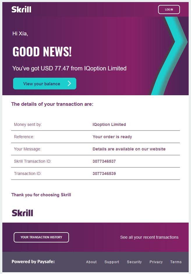 Skrill notification email