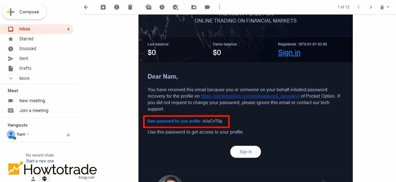 Thư mới chứa mật khẩu Pocketoption mới được gửi tiếp tới Email của bạn