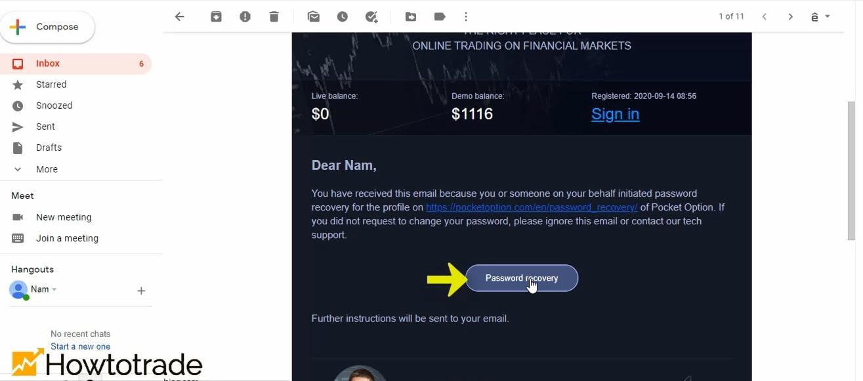 Một liên kết phục hồi tài khoản của bạn được gửi tới Email