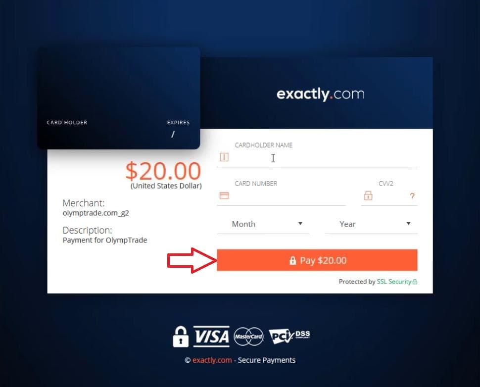 Isi informasi pada kartu VISA untuk melanjutkan pembayaran