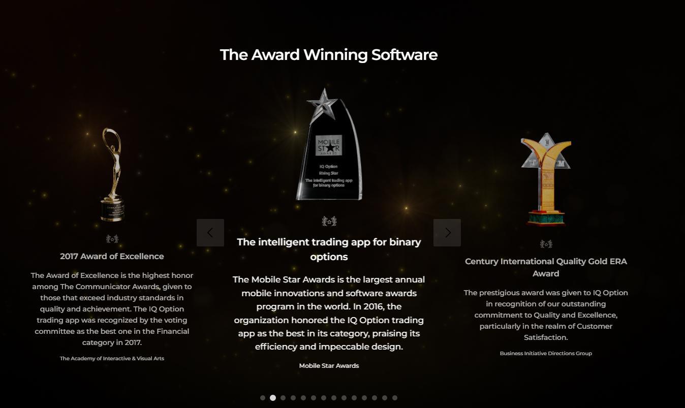 Beberapa penghargaan internasional IQ Option