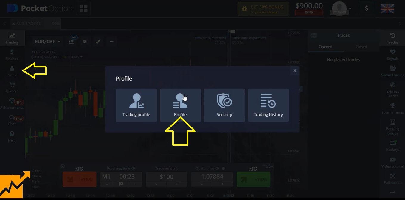 Chọn mục điền thông tin cá nhân tại Pocket Option