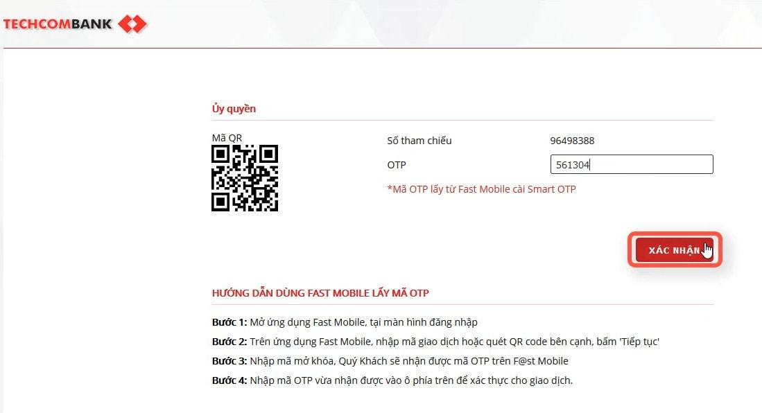 Điền mã OTP để thực hiện việc chuyển tiền