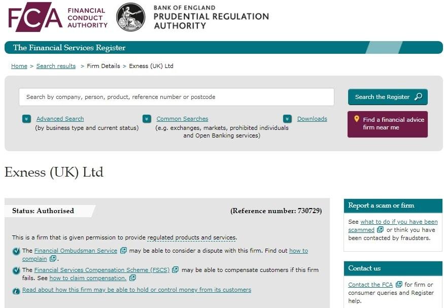 Giấy phép của FCA cấp cho sàn Exness chứng minh không lừa đảo