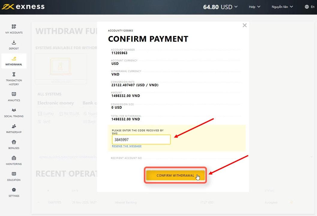 Nhập mã xác nhận rút tiền