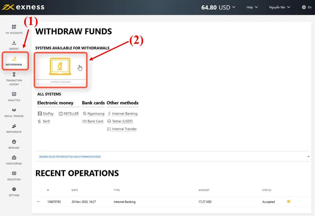 Chọn phương thức rút tiền Exness bằng Internet Banking