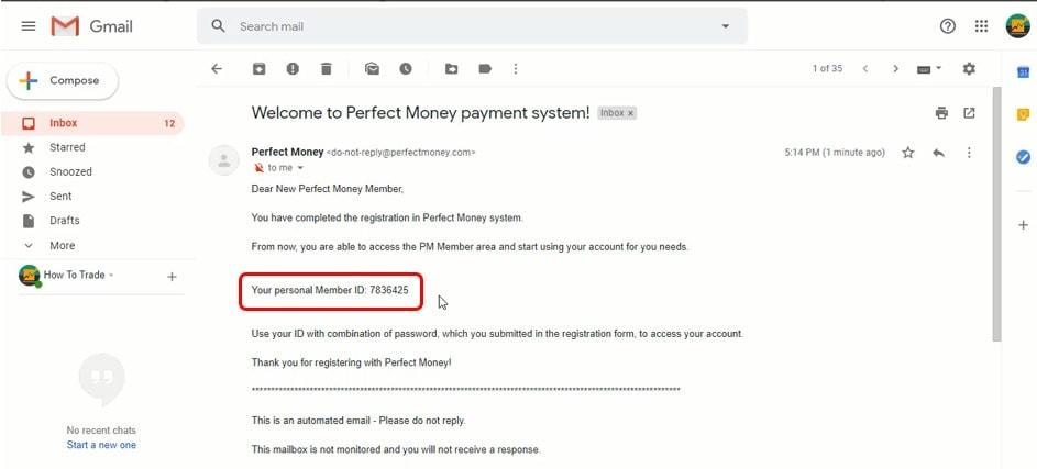 Cari ID di email Anda untuk login ke akun PerfectMoney