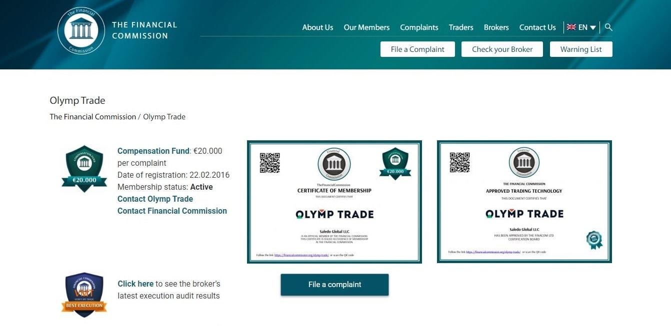 Sertifikasi keanggotaan dari Financial Commission untuk Olymp Trade