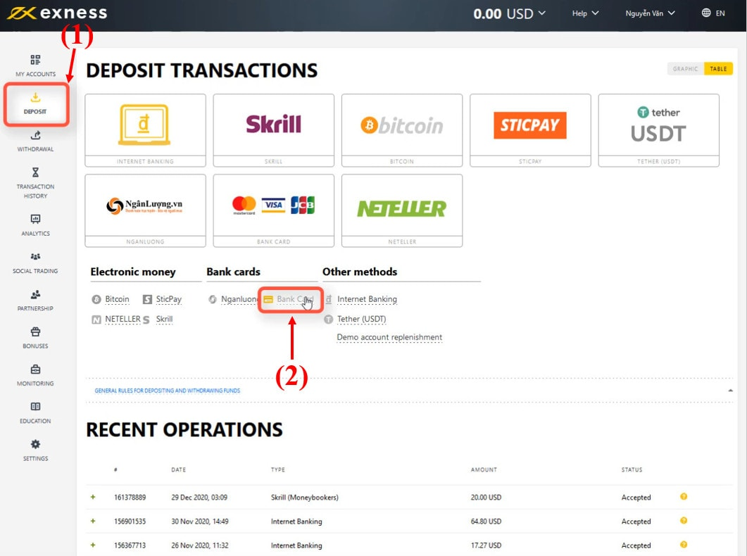 Login and choose the payment method