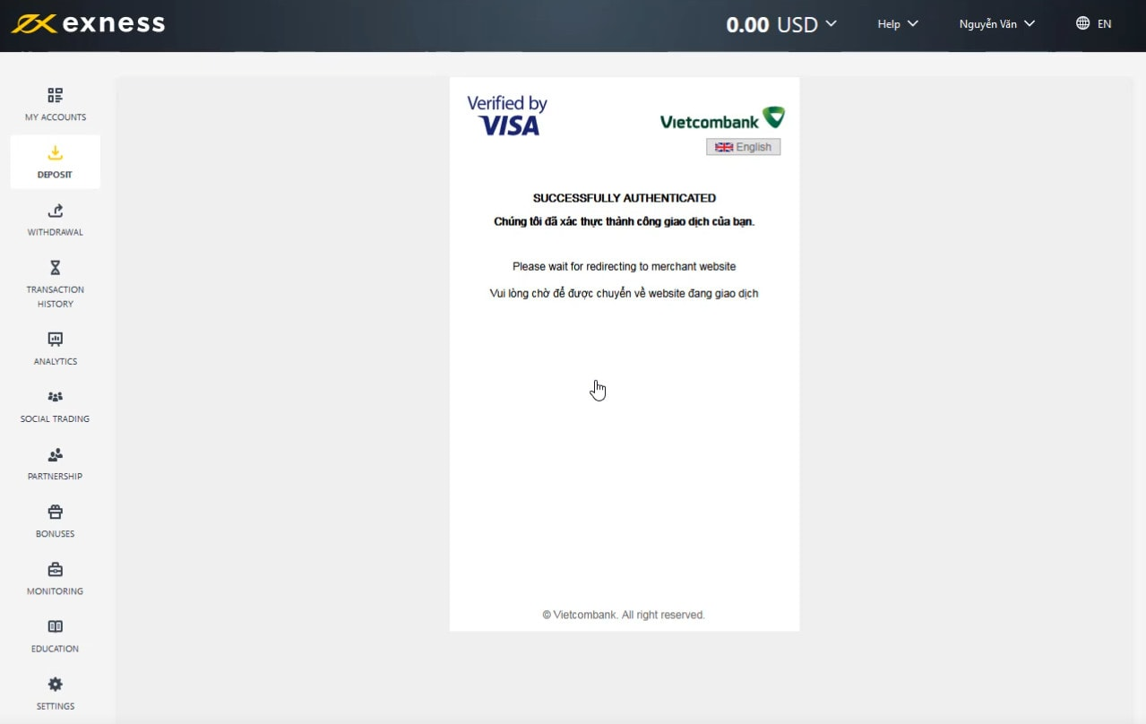 Complete your Exness deposit with Visa/Mastercard