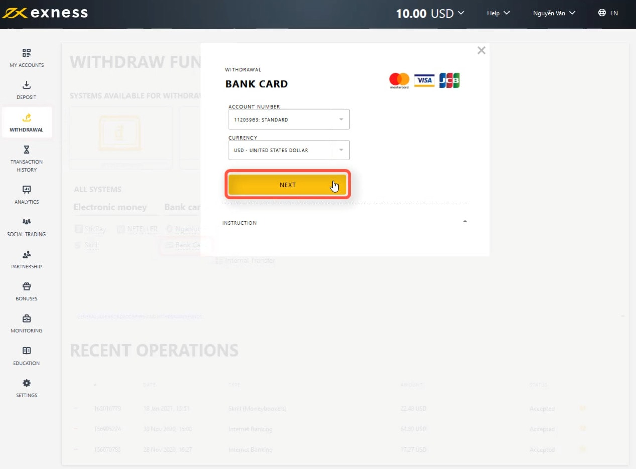 Select the account you want to withdraw money from