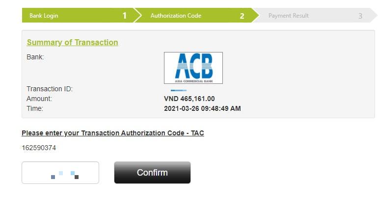 Nhập mã xác nhận từ ngân hàng