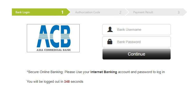 Đăng nhập vào tài khoản ngân hàng