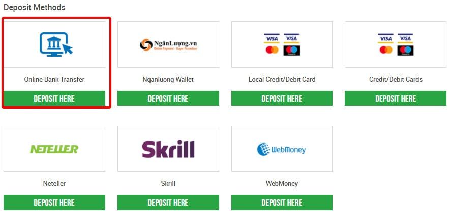 Chọn nạp tiền vào sàn XM bằng Online Bank Transfer (ngân hàng nội địa)