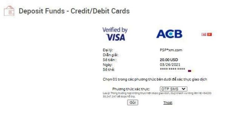 Nhấn gửi và nhập mã OTP để xác nhận thanh toán